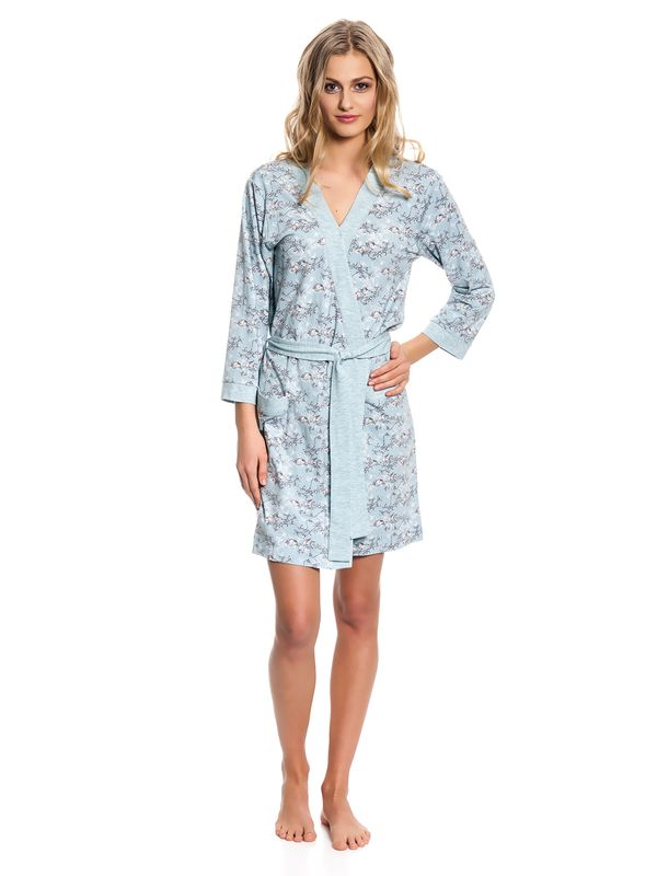 Vive Maria Blue Bird Dressing Gown Morgenmantel mint Allover-Print – Bild 1
