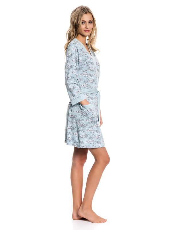 Vive Maria Blue Bird Dressing Gown Morgenmantel mint Allover-Print – Bild 2