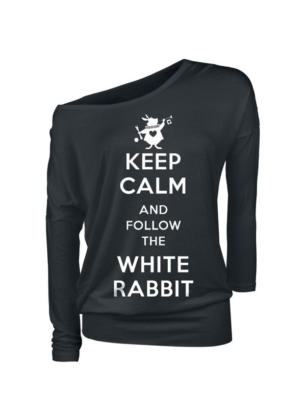 Alice im Wunderland Keep Calm Follow Rabbit Damen Langarmshirt schwarz