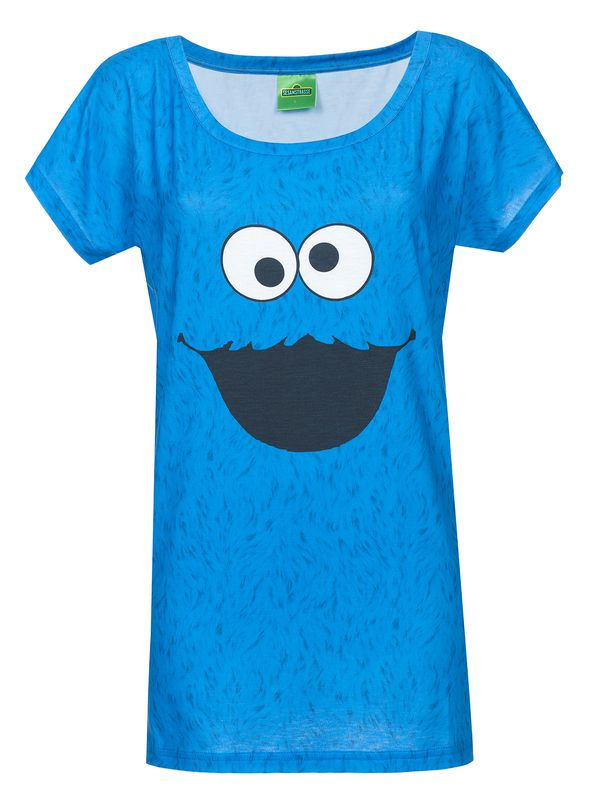 Sesamstrasse Cookie Fur Girl Shirt Frauen T-Shirt blau Allover-Print – Bild 1