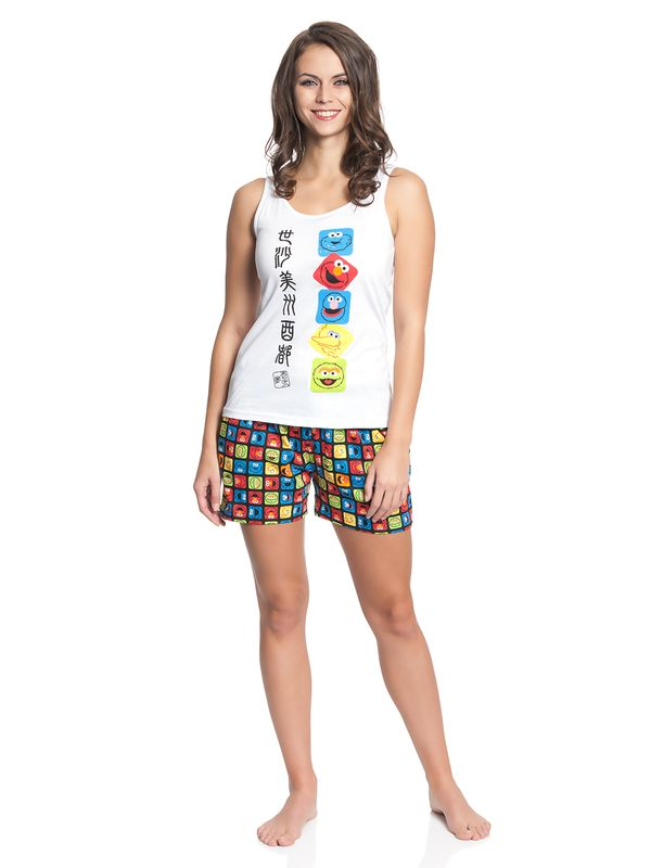 Sesame Street Faces Japan Short Pyjama white/allover – Bild 2
