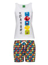 Sesame Street Faces Japan Short Pyjama white/allover – Bild 0
