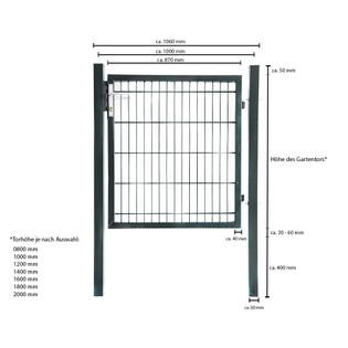 Doppelstabmatten Gartentor grün - 2000 mm – Bild 6