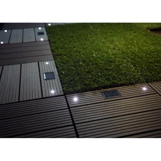 WPC Holzfliesen Dunkelbraun mit LEDs - 2x Stück – Bild 2