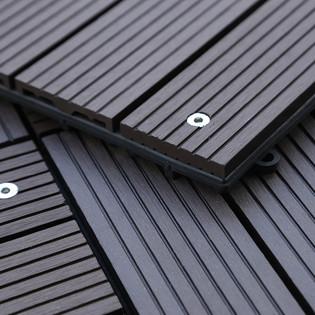 WPC Holzfliesen Dunkelbraun mit LEDs - 12x Stück – Bild 5