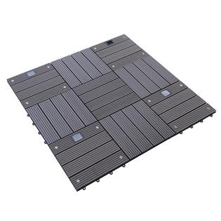 WPC Holzfliesen Dunkelbraun mit LEDs - 12x Stück – Bild 8