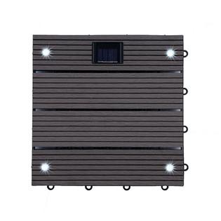 WPC Holzfliesen Dunkelbraun mit LEDs - 24x Stück – Bild 1