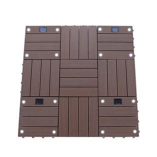 WPC Holzfliesen Hellbraun mit LEDs - 2x Stück – Bild 4