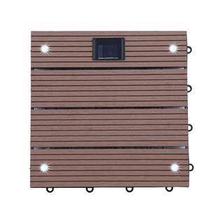 WPC Holzfliesen Hellbraun mit LEDs - 4x Stück – Bild 1