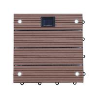 WPC Holzfliesen Hellbraun mit LEDs - 10x Stück 001