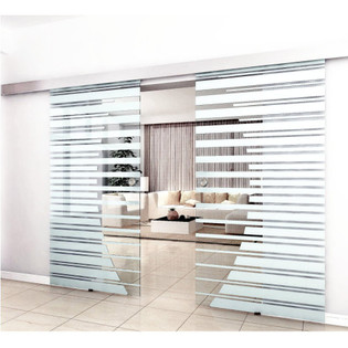 Doppelglasschiebetür 2x77,5 cm mit Streifendesign und Muschelgriff