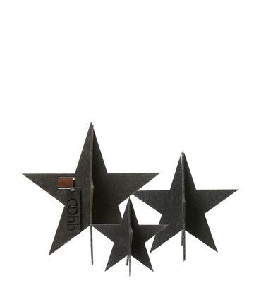 Eco-Filz Sterne stehend 3er-Set schwarz
