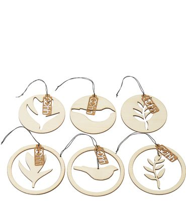 Hänge-Deko Holz 6er Set Natur Hanging Wood Deco Set of 6 nature