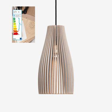 ENA Lampe grau mit weißem Textil Kabel – Bild 1