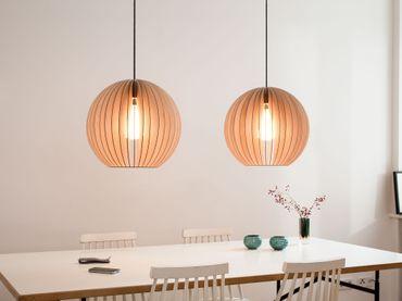 AION L Lampe Natur mit schwarzem textil Kabel – Bild 3