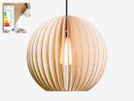 AION L Lampe Natur mit schwarzem textil Kabel