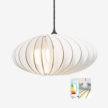 NEFI Lampe weiß mit weißem textil Kabel