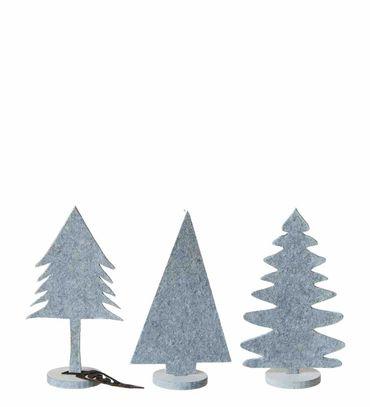 Eco-Filz Bäume weiß stehend 3er-Set