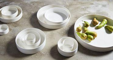 Kaas + Heger Low Bowl M Porzellan naturweiße Schale flach M