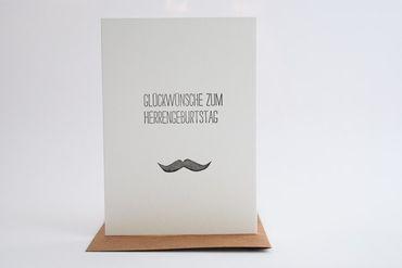Glückwünsche zum Herrengeburtstag Handgedr. Unikat-Karte