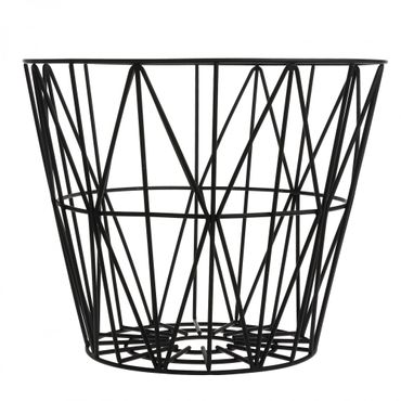 Korb schwarz L Wire Basket Black Large D 60 cm, H 45 cm