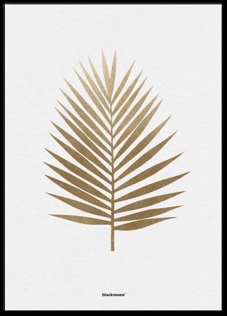 Postkarte Palmblatt goldfarben