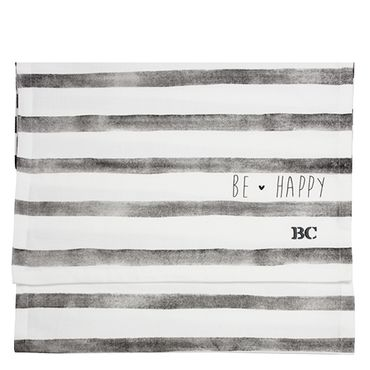 BC Tischläufer Be Happy grau weiß gestreift