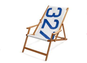 Sailbags Klappstuhl Deck Chair mit Armlehnen weißes Segel Blaue 327