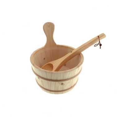 Dewello Holz Aufgussset Saunaeimer Kelle Thermometer Sanduhr Saunaset – Bild 9