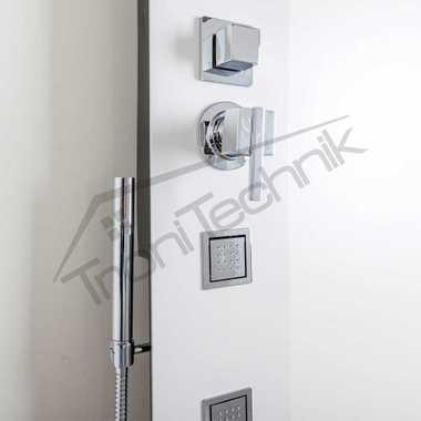 TroniTechnik Duschpaneel Duschsäule Wasserfall Duscharmatur Duschset Dusche RIVOLI Weiß  – Bild 2