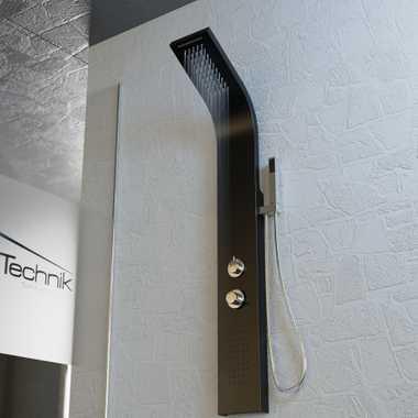 Duschpaneel Duschsäule Duscharmatur ZEUS Aluminium schwarz inkl. Handbrause, Wasserfall, Massage – Bild 2