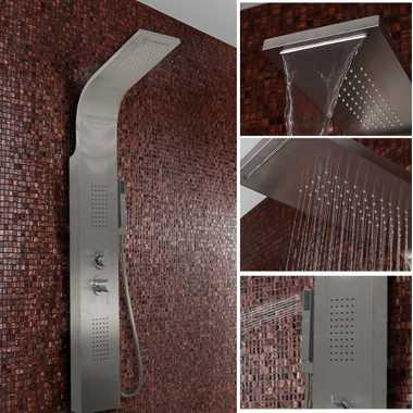 Duschpaneel Duschsäule Duscharmatur ZEUS Edelstahl inkl. Handbrause, Wasserfall, Massage – Bild 1