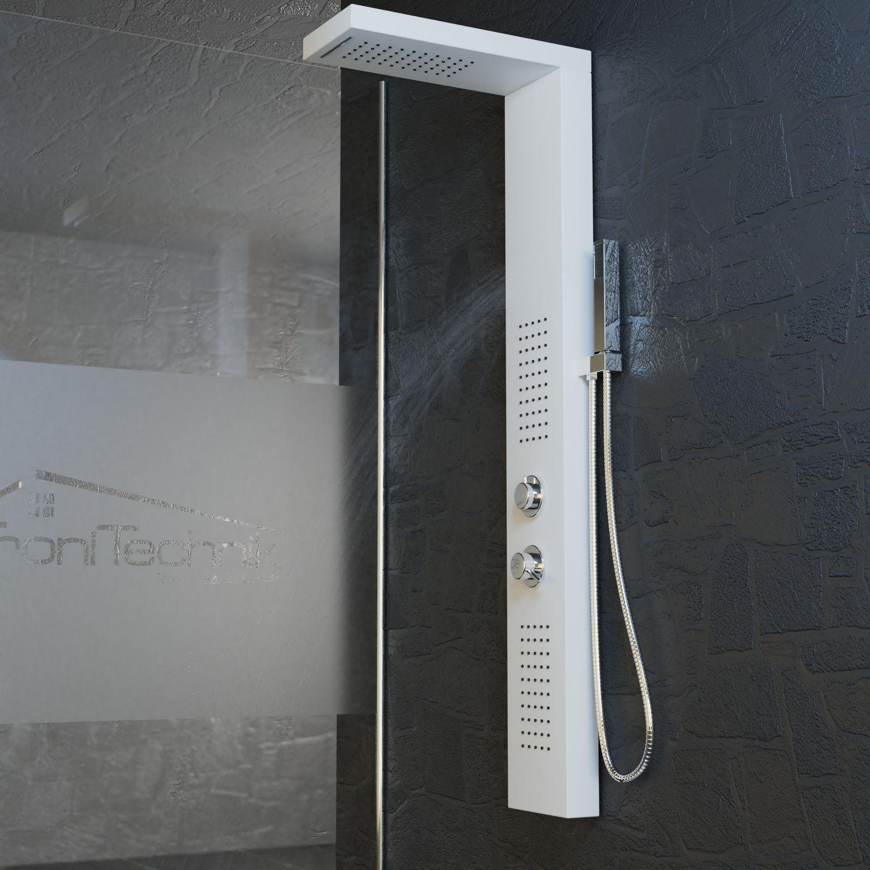 Bild 3: Duschpaneel Duschsäule Duscharmatur POSEIDON Aluminium weiß inkl. Handbrause, Wasserfall, Massage