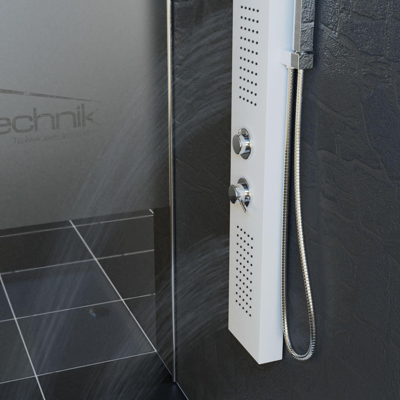 Bild 4: Duschpaneel Duschsäule Duscharmatur POSEIDON Aluminium weiß inkl. Handbrause, Wasserfall, Massage