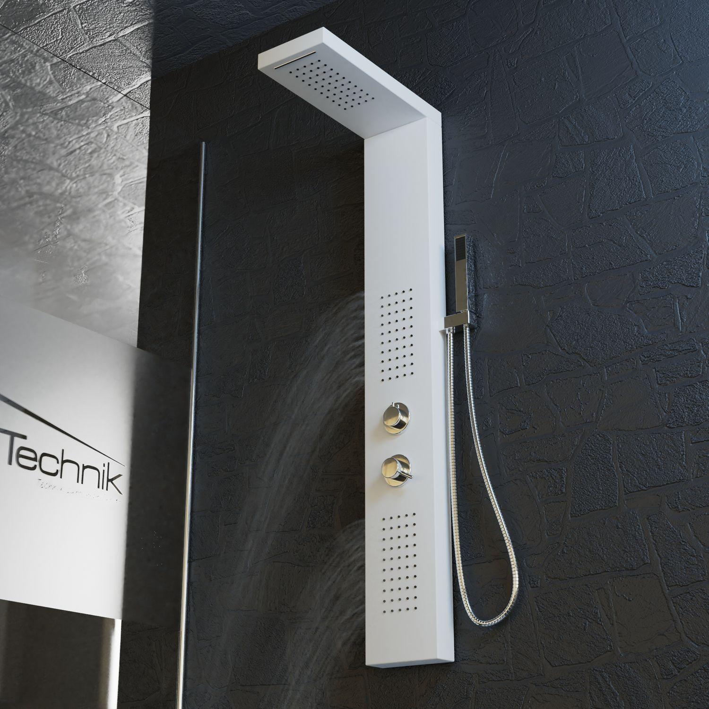 Bild 7: Duschpaneel Duschsäule Duscharmatur POSEIDON Aluminium weiß inkl. Handbrause, Wasserfall, Massage