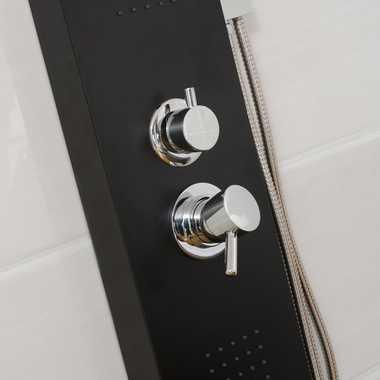 Duschpaneel Duschsäule Duscharmatur POSEIDON Aluminium schwarz inkl. Handbrause, Wasserfall, Massage – Bild 4