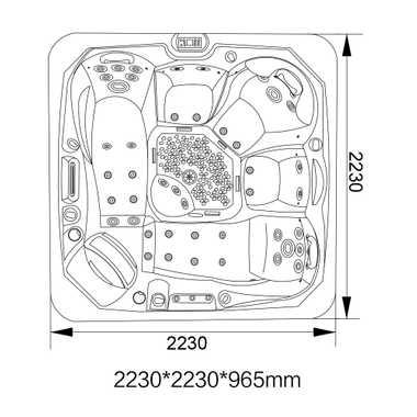 Outdoor Whirlpool Spa CRETACCIO grau 223cm x 223cm KOMPLETT inkl. Thermoabdeckung + Treppe – Bild 11