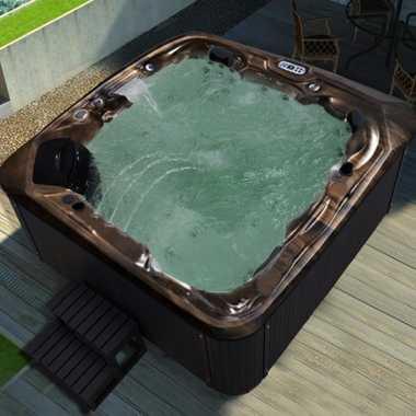 Outdoor Whirlpool Spa CRETACCIO braun 223cm x 223cm KOMPLETT inkl. Thermoabdeckung + Treppe – Bild 2