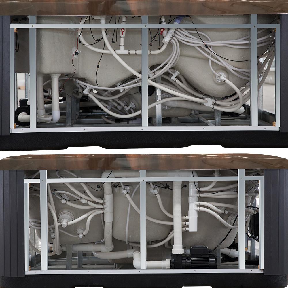 Bild 10: Outdoor Whirlpool Spa CRETACCIO braun 200cm x 200cm KOMPLETT inkl. Thermoabdeckung + Treppe