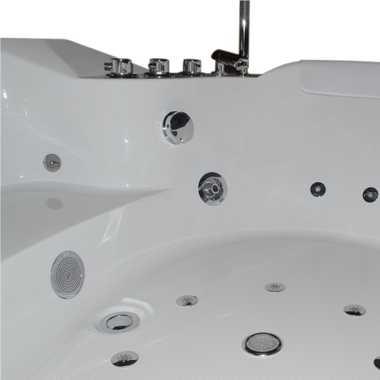 TroniTechnik Whirlpool Badewanne SANTORINI WEISS 150cm x 150cm mit Heizung Hydromassage und Farblichtherapie – Bild 7