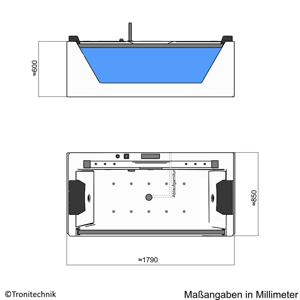 Bild 11: TroniTechnik Whirlpool Badewanne KOS 2 179cm x 85cm mit Heizung, Hydromassage, Bachlauf und Farblichtherapie