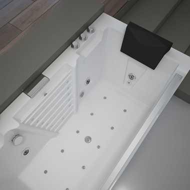 TroniTechnik Whirlpool Badewanne MYKONOS 180cm x 88cm mit Heizung, Wasserfall, Hydromassage und Farblichtherapie – Bild 10