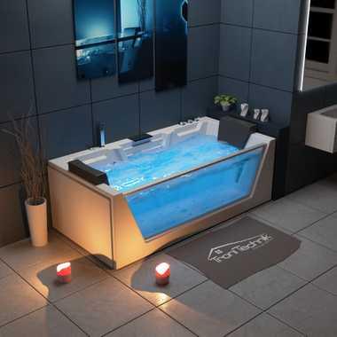 TroniTechnik Whirlpool Badewanne MYKONOS 180cm x 88cm mit Heizung, Wasserfall, Hydromassage und Farblichtherapie – Bild 2
