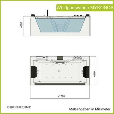 TroniTechnik Whirlpool Badewanne MYKONOS 180cm x 88cm mit Heizung Wasserfall Hydromassage und Farblichtherapie – Bild 11