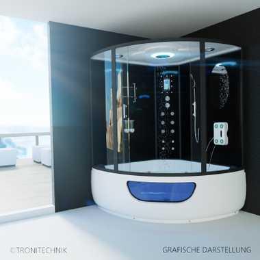TroniTechnik Dampfdusche Fertigdusche Dampfsauna Whirlpool Badewanne Komplettdusche Duschkabine Dusche 150x150