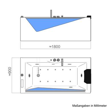 TroniTechnik Whirlpool Badewanne RHODOS 180cm x 90cm inkl. Heizung, Hydromassage und Farblichtherapie – Bild 9