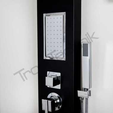 TroniTechnik Duschpaneel Duschsäule Wasserfall Duscharmatur Duschset Dusche TURIN Schwarz – Bild 2