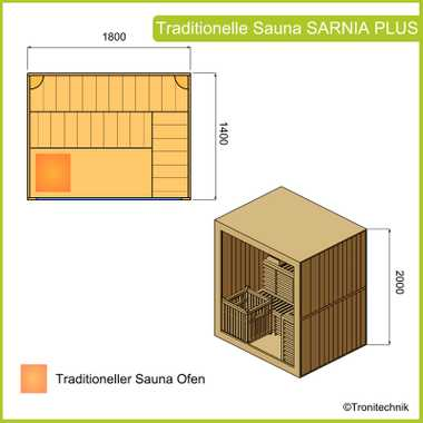 Traditional sauna SARNIA PLUS 180x140 – Bild 9