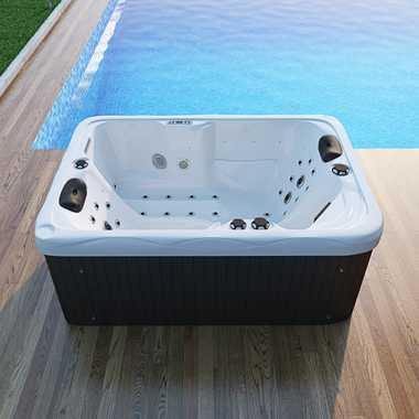 TroniTechnik Outdoor Whirlpool Spa LEVANZO weiß 195cm x 135cm mit Heizung, Hydromassage, Bluetooth und Farblichtherapie – Bild 5