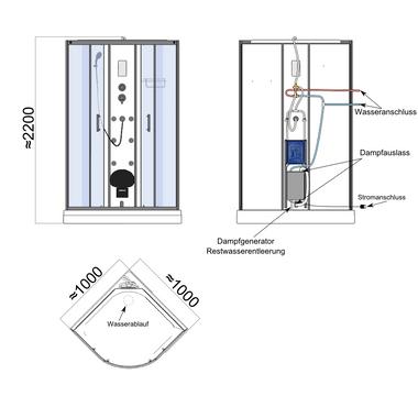 TroniTechnik Dampfdusche Dusche Fertigdusche Duschkabine Dampfsauna Eckdusche Komplettdusche S100XB1KG01 100x100 – Bild 12